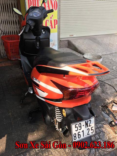 Mẫu sơn xe máy Honda Lead SCR 110 màu trắng cam tem đấu tai TP.HCM