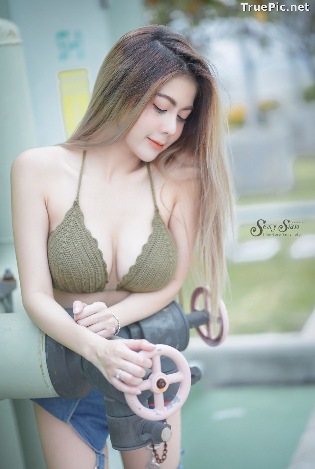 Image Thailand Model - Paeploy Panpeng - Green Tea Bra and Jean - TruePic.net - Picture-6