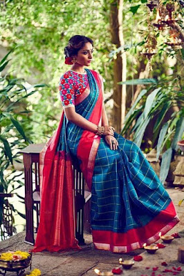 Fascinating blouse designs definitely works for silk sarees. This silk saree is pure example.