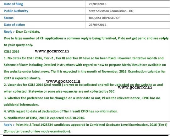 ssc rti reply, chsl notification, cgl tier-2, tier-3, and tier-3 dates