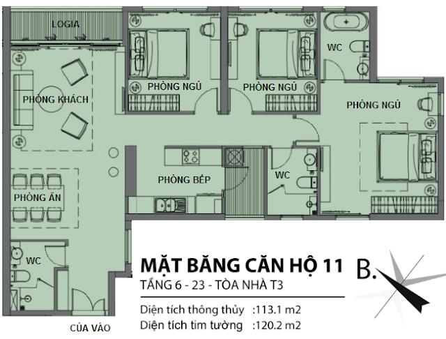 Căn hộ số 11 tòa T3 chung cư Sun Grand City Ancora Lương Yên
