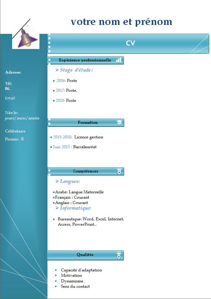 exemple de cv de stage au maroc pdf
