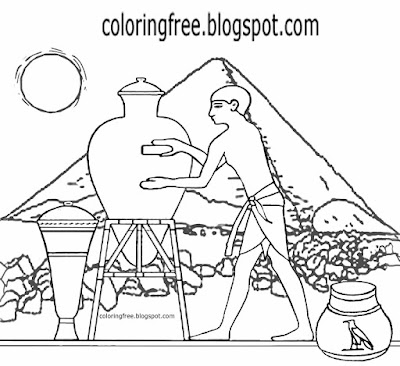 Youngsters ancient Egypt pyramid drawing clay jar Cairo crafts Egyptian pottery coloring book pages