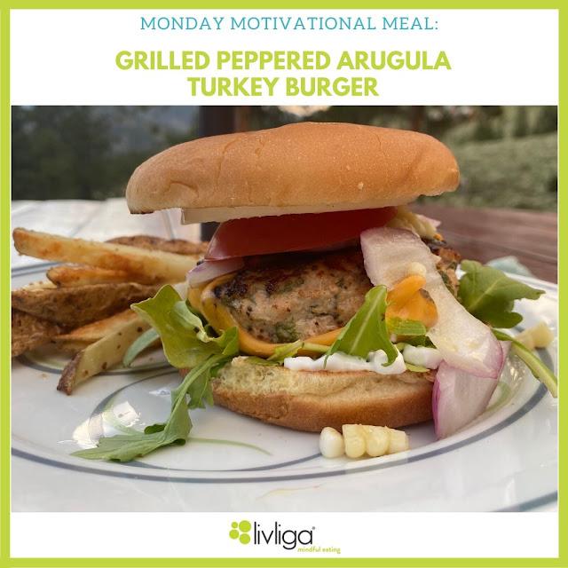Grilled Arugula Turkey Burger on Livliga Vivente Portion Control Dinner Plate