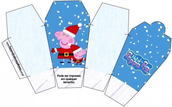 """Caja tipo """"de comida china""""de Peppa Pig en Navidad."""