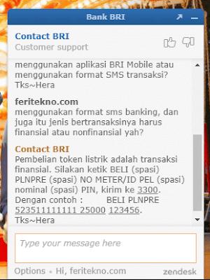 cara beli listrik di sms banking bri