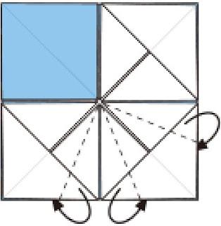 Bước 7:  Gấp các cạnh giấy về phía đằng sau ở giữa hai lớp giấy