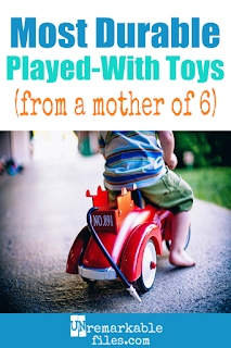 Don't you hate when new toys are quickly forgotten and your kids never play with them anymore? Me, too! This guide is full of classic, tough, long-lasting toys kids will play with for years and years – and then they'll get handed down to their siblings. Great for families with multiple kids, kids of all ages, and parents buying toys on a budget who are looking for the best value. #toys #giftideasforkids