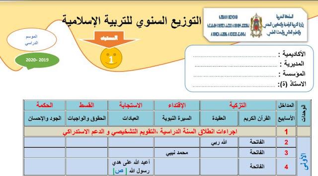 التوزيع السنوي لمادة التربية الإسلامية للمستوى الأول للموسم الدراسي 2019/ 2020.