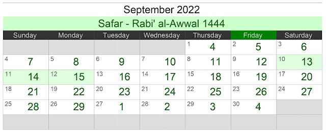 Kalender Hijriah Bulan September 2022 Lengkap Jadwal Puasa
