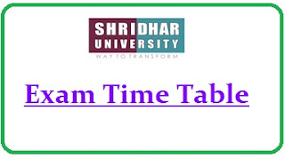 Shridhar University Exam Date Sheet 2020