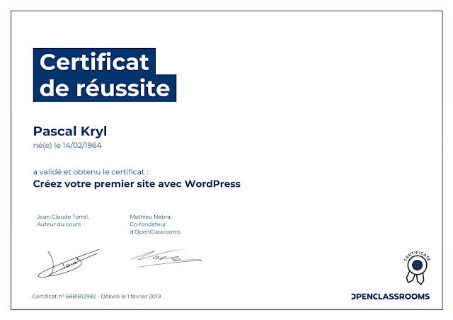certification Créez votre premier site avec WordPress
