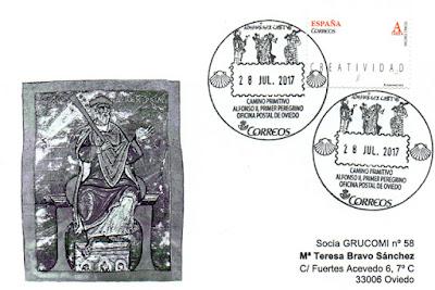Tarjeta del Grucomi con el matasellos turístico o postal del Camino Primitivo