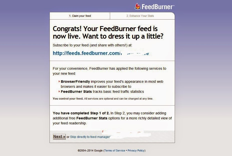 Add FeedBurner Setup from wordpress dashboard