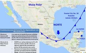 Frente Frio 18 entrara con lluvias y vientos en Estado Veracruz