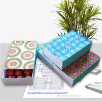 Set of four matchbox style gift boxes with modern geometric patterns.