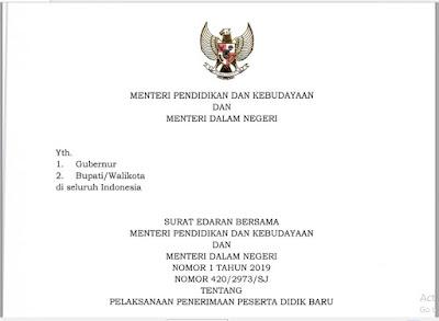 Surat Edaran Bersama Menteri Pendidikan dan Kebudayaan & Menteri Dalam Negeri Tentang PPDB Tahun 2019, http://www.librarypendidikan.com/