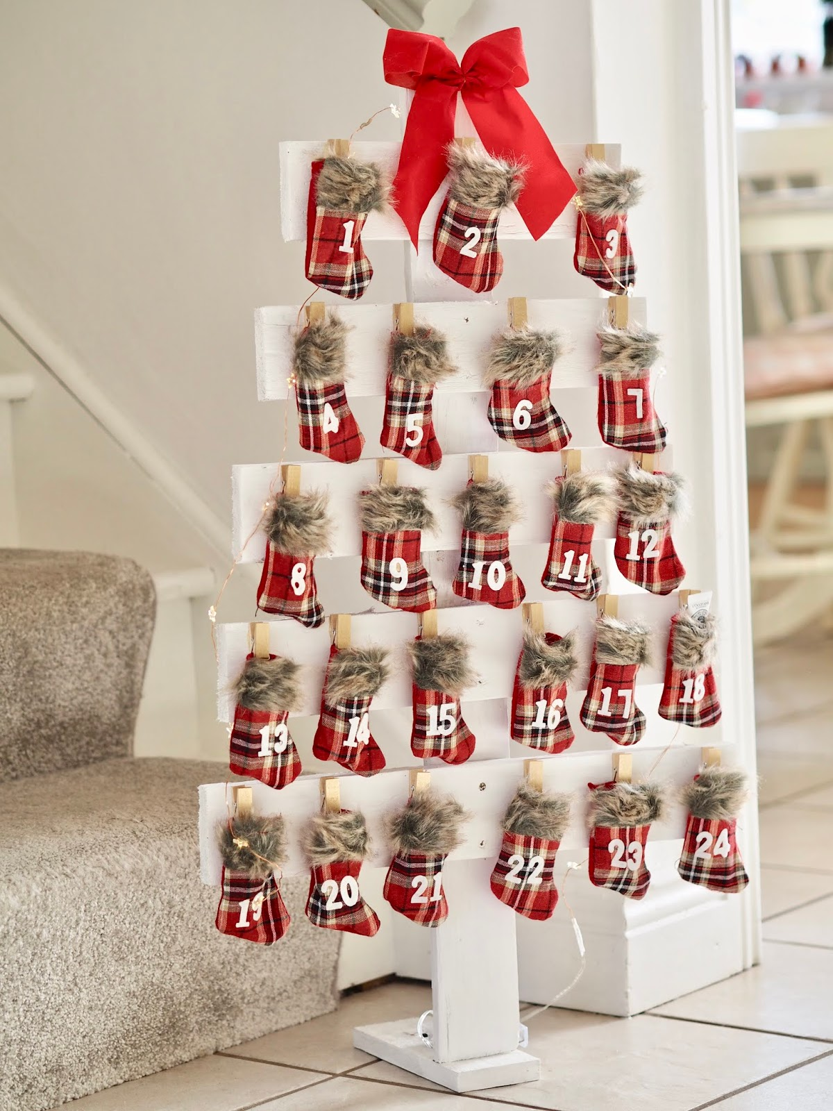 Diy Christmas Tree Advent Calendar From Palette Wood Dainty Dress
