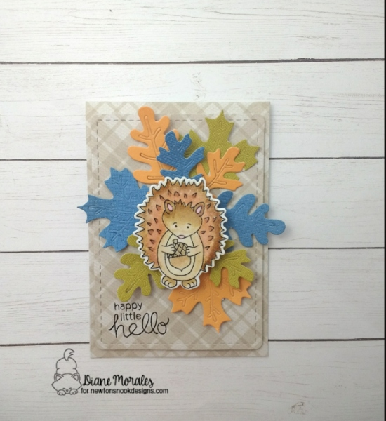 Happy little hello by Diane features Hedgehog Hollow, Autumn Leaves, and Frames & Flags by Newton's Nook Designs; #newtonsnook