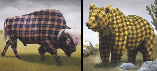 00-Sean-Landers-Paintings-of-Animals-that-Swap-their-Fur-for-Tartan-Coats-www-designstack-co
