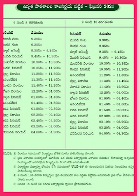 AP UP, High Schools Time Table by AP SCERT