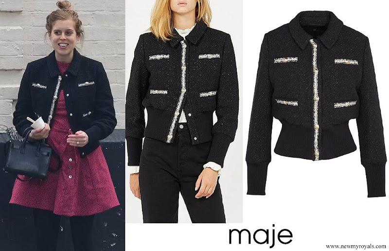 Princess Beatrice wore MAJE BLOPPY Black Tweed jacket with classic-collar