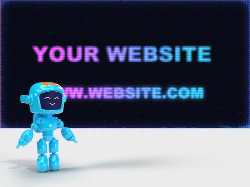 3D Robot with led text psd
