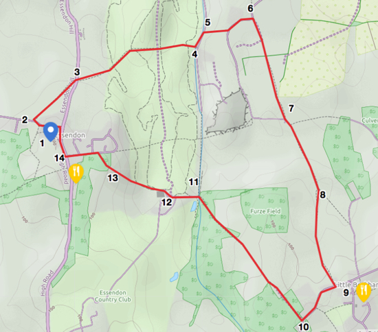 Map for Walk 20: The Essendon Loop, created by David Brewer, map elements copyright MapHub and Thunderforest