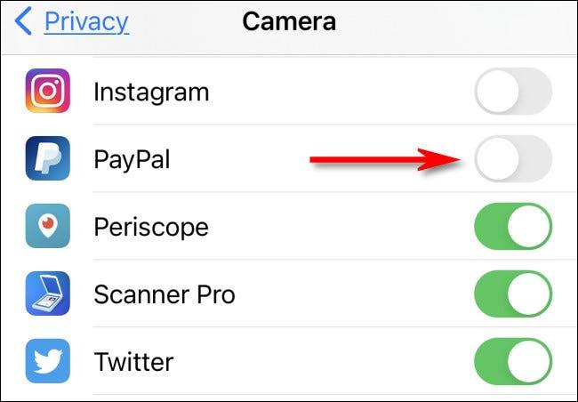 في إعدادات iPhone ، لمنح حق الوصول إلى الكاميرا أو إبطالها ، انقر فوق المفتاح الموجود بجانب التطبيق في القائمة.