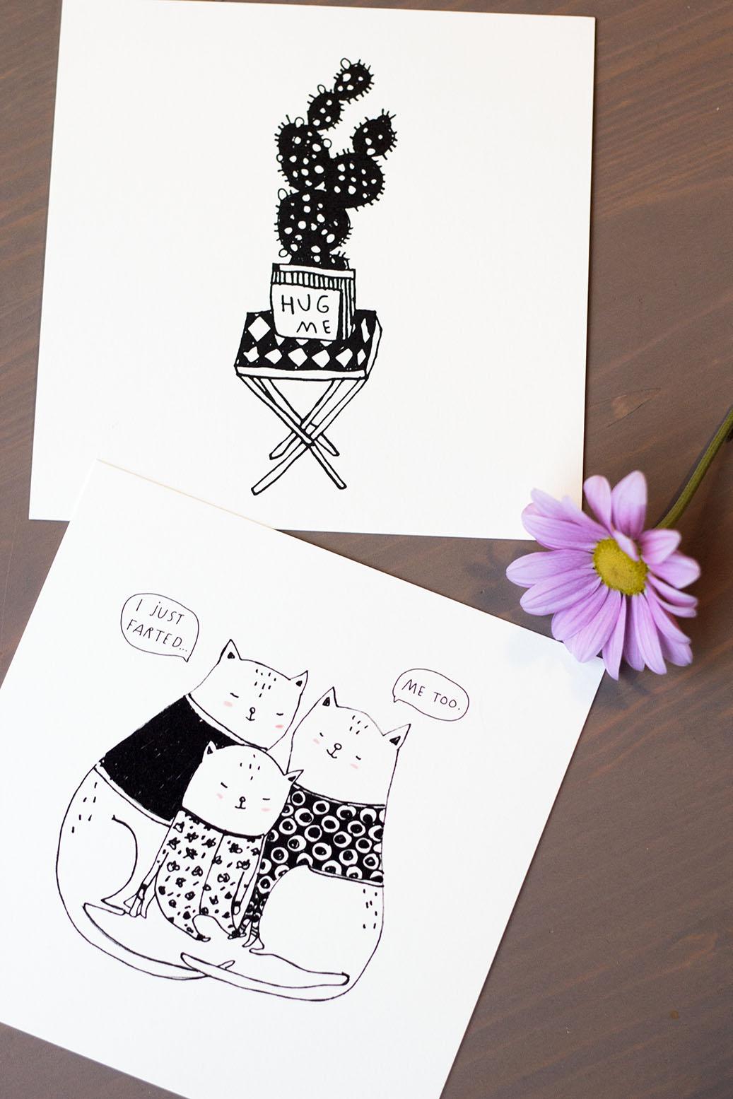 Majasbok cacto ilustração e família de gatos