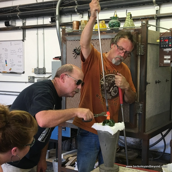 clamping glass demo at Lindsay Art Glass in Benicia, California