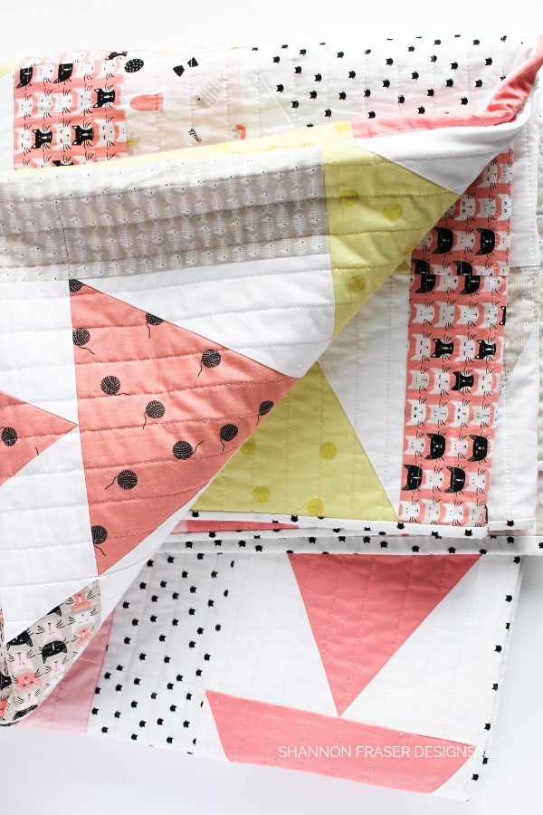 Meow Flight Plan Quilt | Modern Quilt Pattern | Shannon Fraser Designs  #trianglequilt