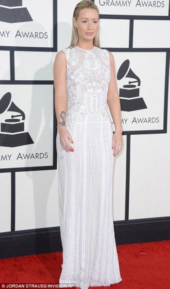 Iggy Azalea in an embroidered white sleeveless dress at the Grammys 2014