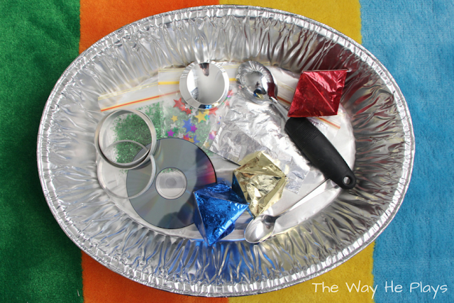 Shiny objects in a silver tray