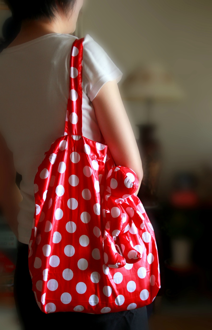 248ac52009a Girl with medium PERIGOT Dots Red bear bag Shopper