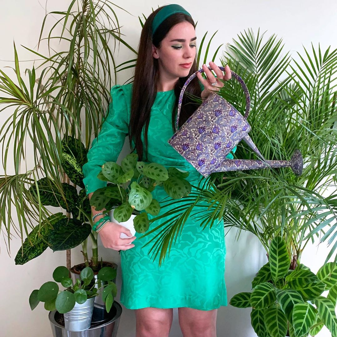 Vintage green dress and houseplants #InstaRainbowChallenge - Emma Louise Layla, UK style blogger