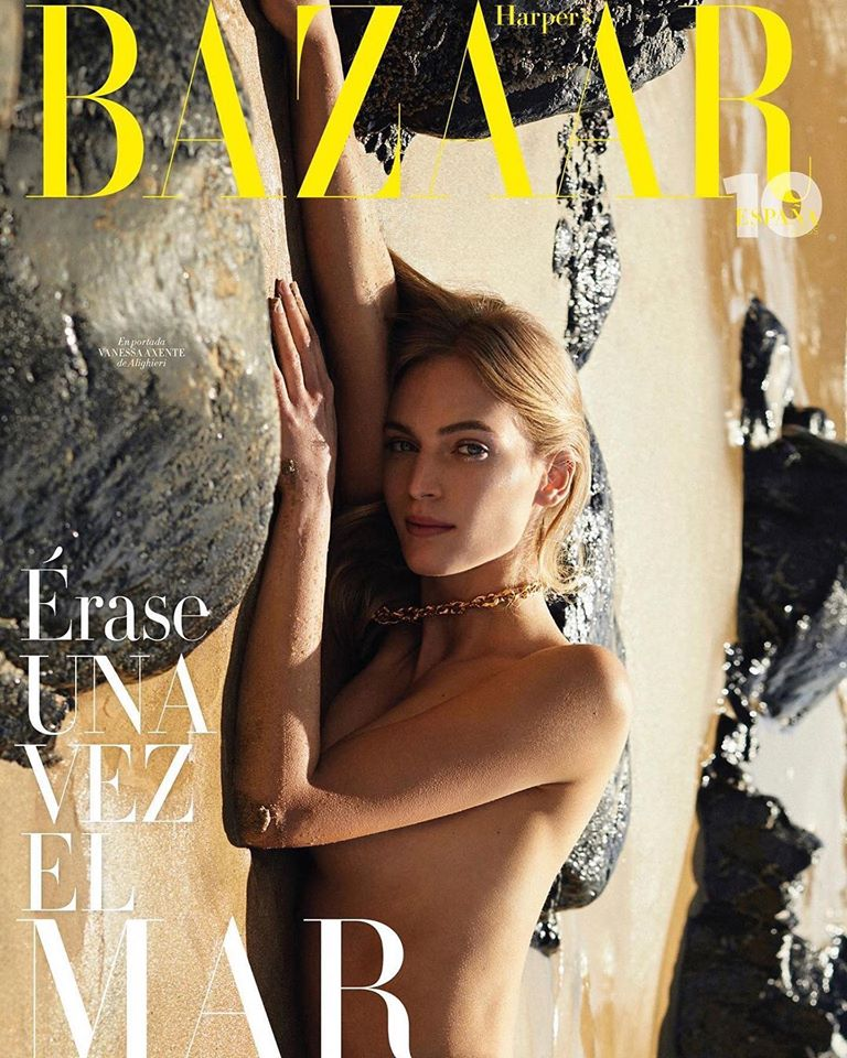 Vanessa Axente goes topless for Harper's Bazaar Spain April 2020