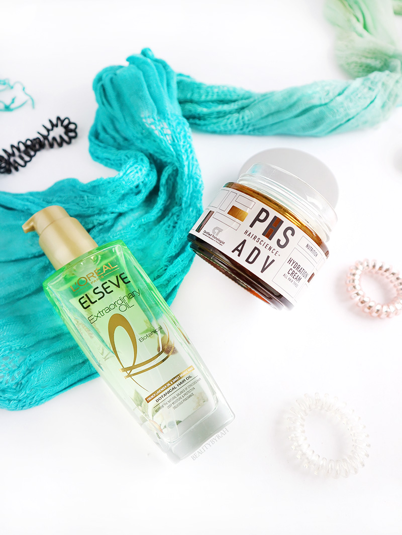 Loreal extraordinary botanical hair oil treatment and PHS hairscience hydration cream review