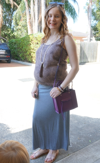 Away from Blue | Second Trimester Printed tank grey jersey maxi skirt purple bag