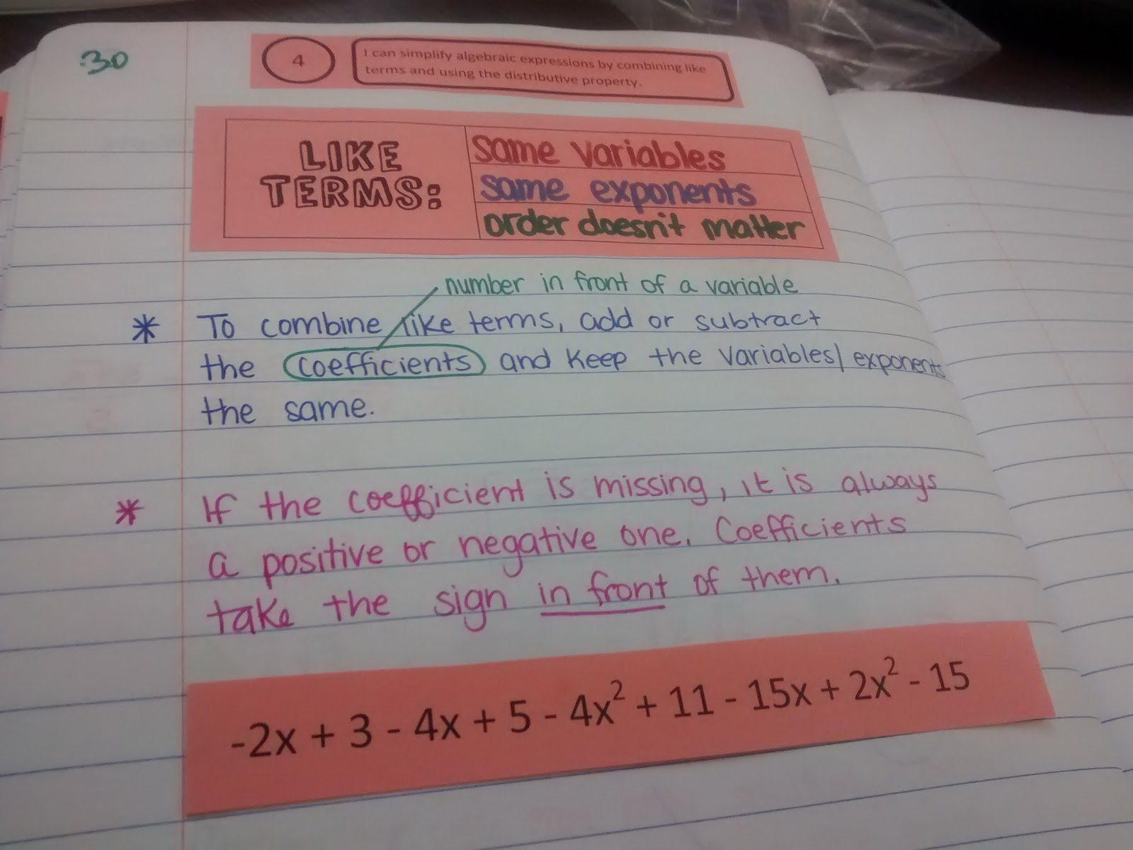 Math Love Cutting and Pasting to Combine Like Terms – Combining Like Terms Worksheet 7th Grade