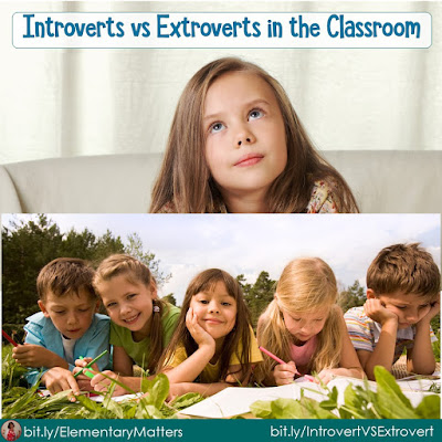 Introverts vs Extroverts in the Classroom: This post shares information about both personality types, and suggests ways teachers can meet their needs
