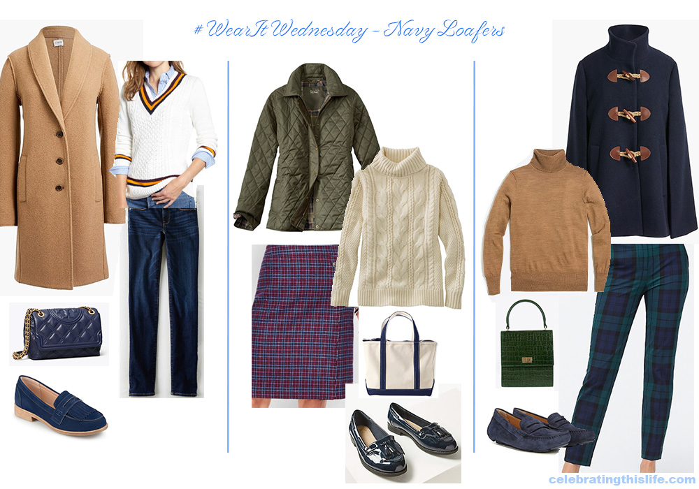 preppy outfits for fall with navy loafers