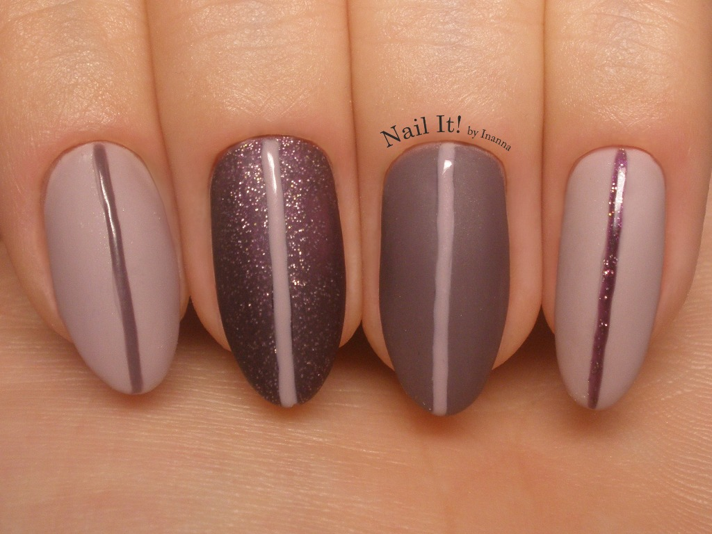 Matt nail art with glossy stripes