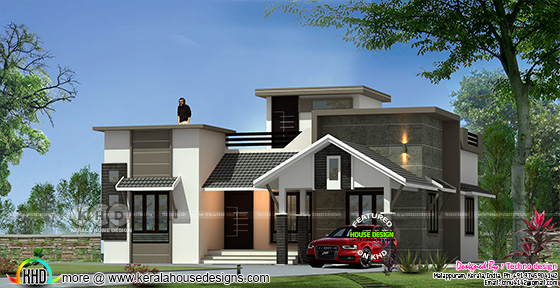 Rendering of one floor mixed roof house