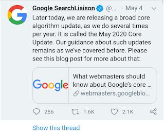 Google core update may,2020
