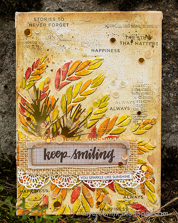 Layers of ink - Tumbling Leaves Canvas Tutorial by Anna-Karin Evaldsson. Simon Says Stamp STAMPtember.