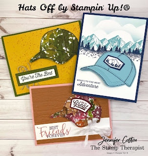 These three cards use Stampin' Up!'s Hats Off Bundle along with the Beauty of the Earth designer paper, Bark Embossing Folder, Blending Brushes, Create with Friends, Quiet Meadow, and Mountain Air.  Two are more masculine and one more feminine.  #StampinUp #StampTherapist #HatsOff