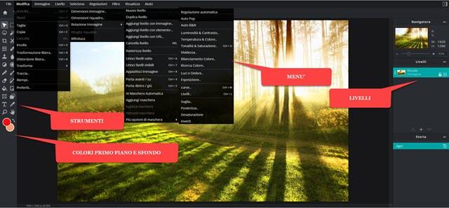 Pixlr E Editor con strumenti e menu
