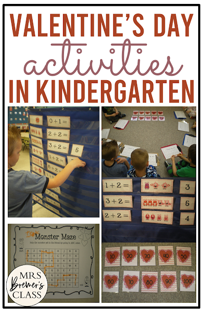 Valentine's Day math and literacy activities for centers in Kindergarten and First Grade