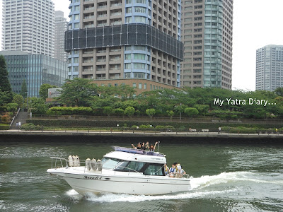 A speeding boat in the Sumida River cruise, Tokyo - Japan